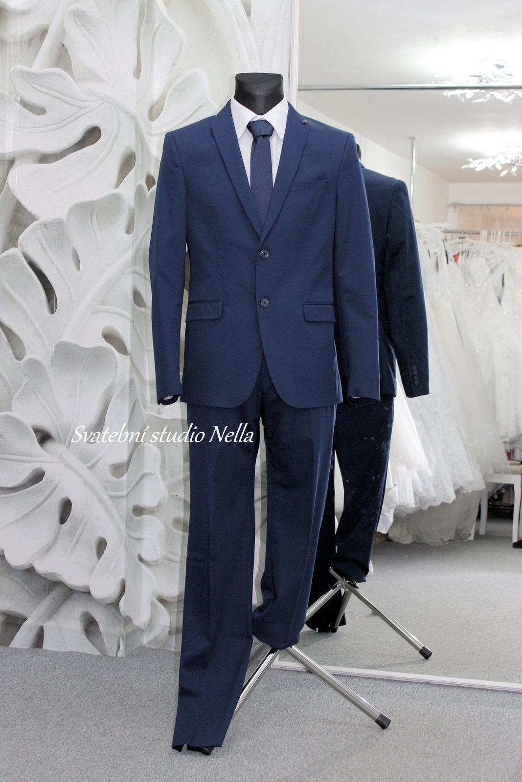 Pánský modrý oblek slim fit - Obrázek č. 1