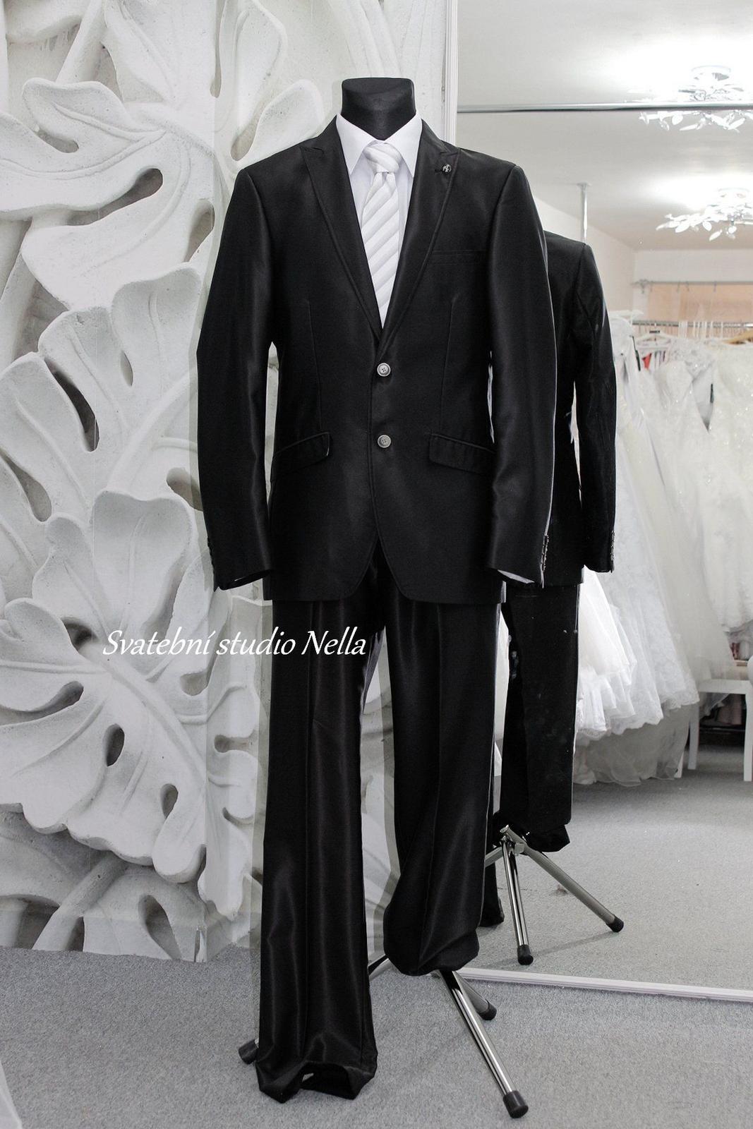 Pánský oblek černý lesk vel.58 - Obrázek č. 1