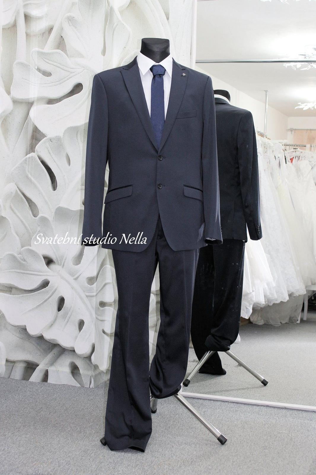 Pánský oblek modrý temný BB slim vel.54 - Obrázek č. 1