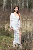 Boho svatební šaty krajkové s rukávem vel.38, 38