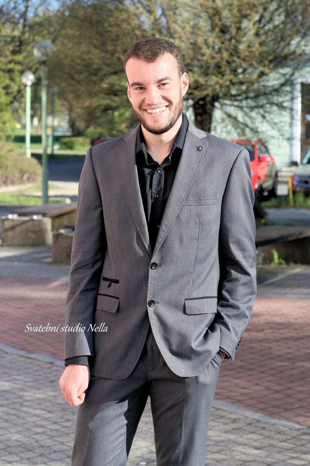 Pánský oblek šedý vel.58 - Obrázek č. 1
