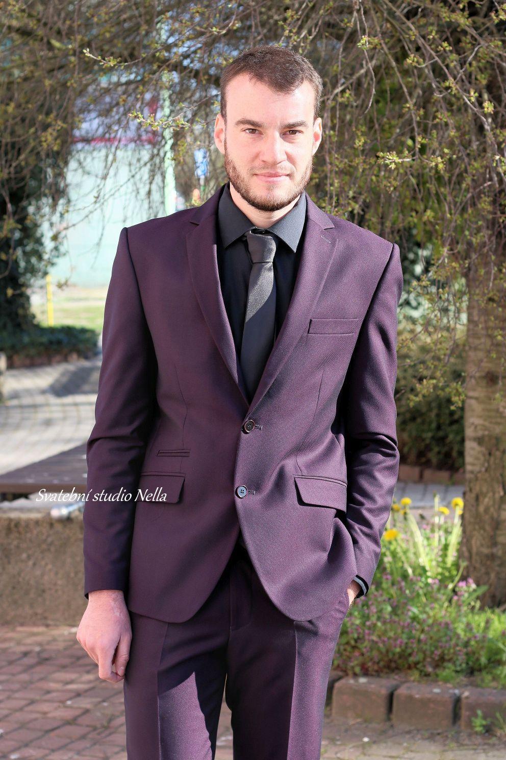 Pánský oblek fialový slim vel.48 - Obrázek č. 1