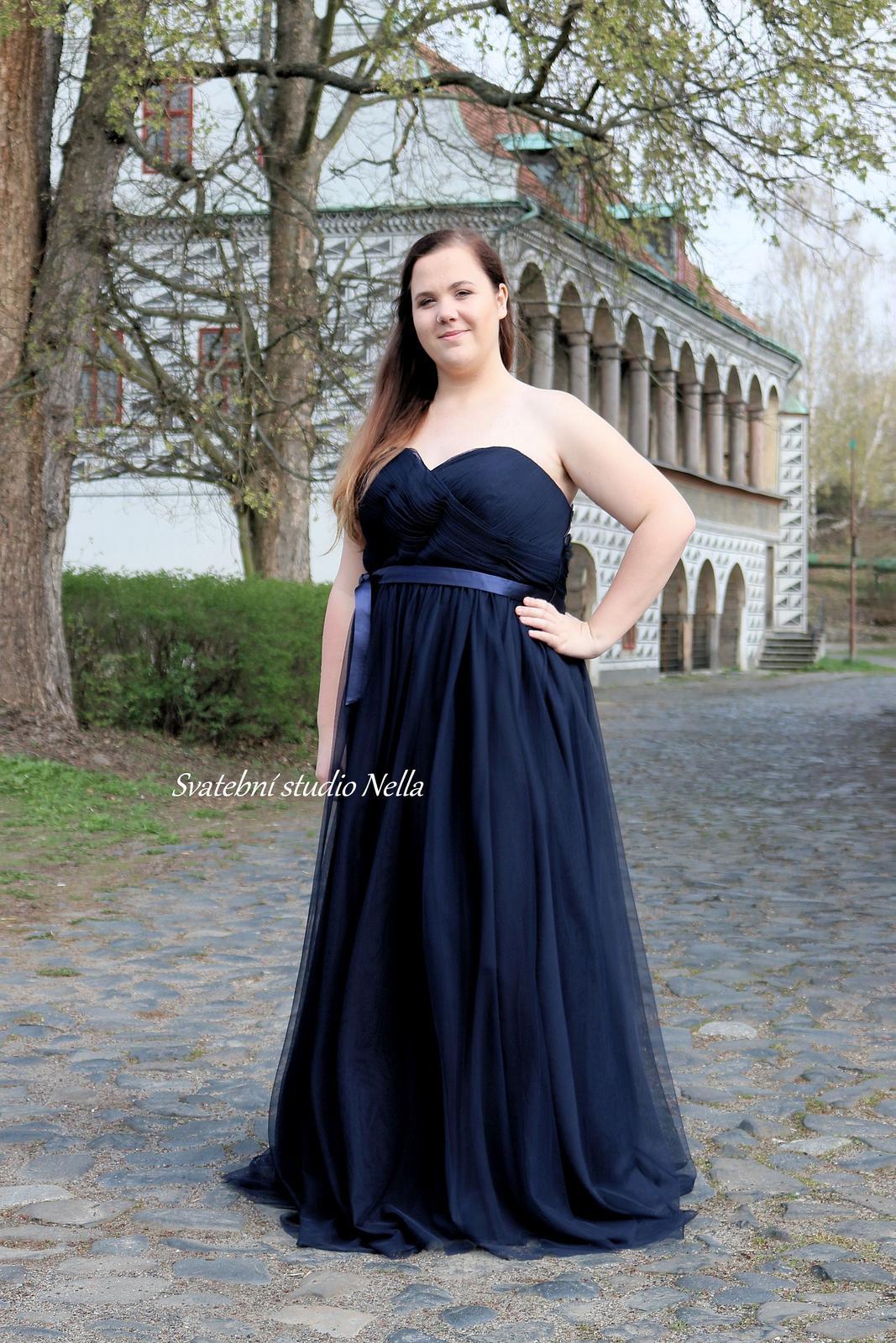 Plesové šaty modré pro plnoštíhlé - velikost 50 - Obrázek č. 1