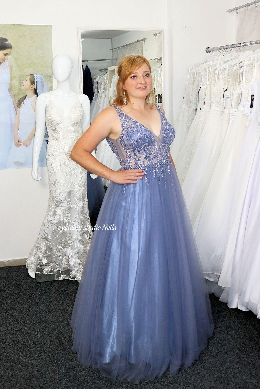 Plesové šaty modré - Obrázek č. 1