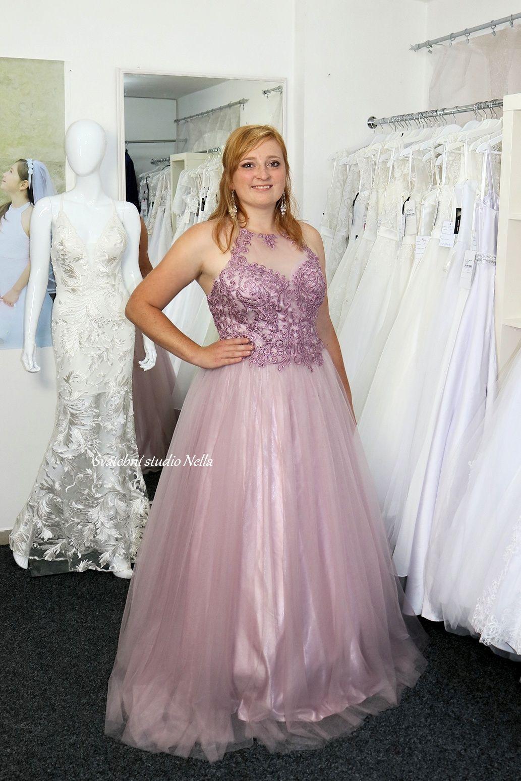 Plesové šaty lila - Obrázek č. 1