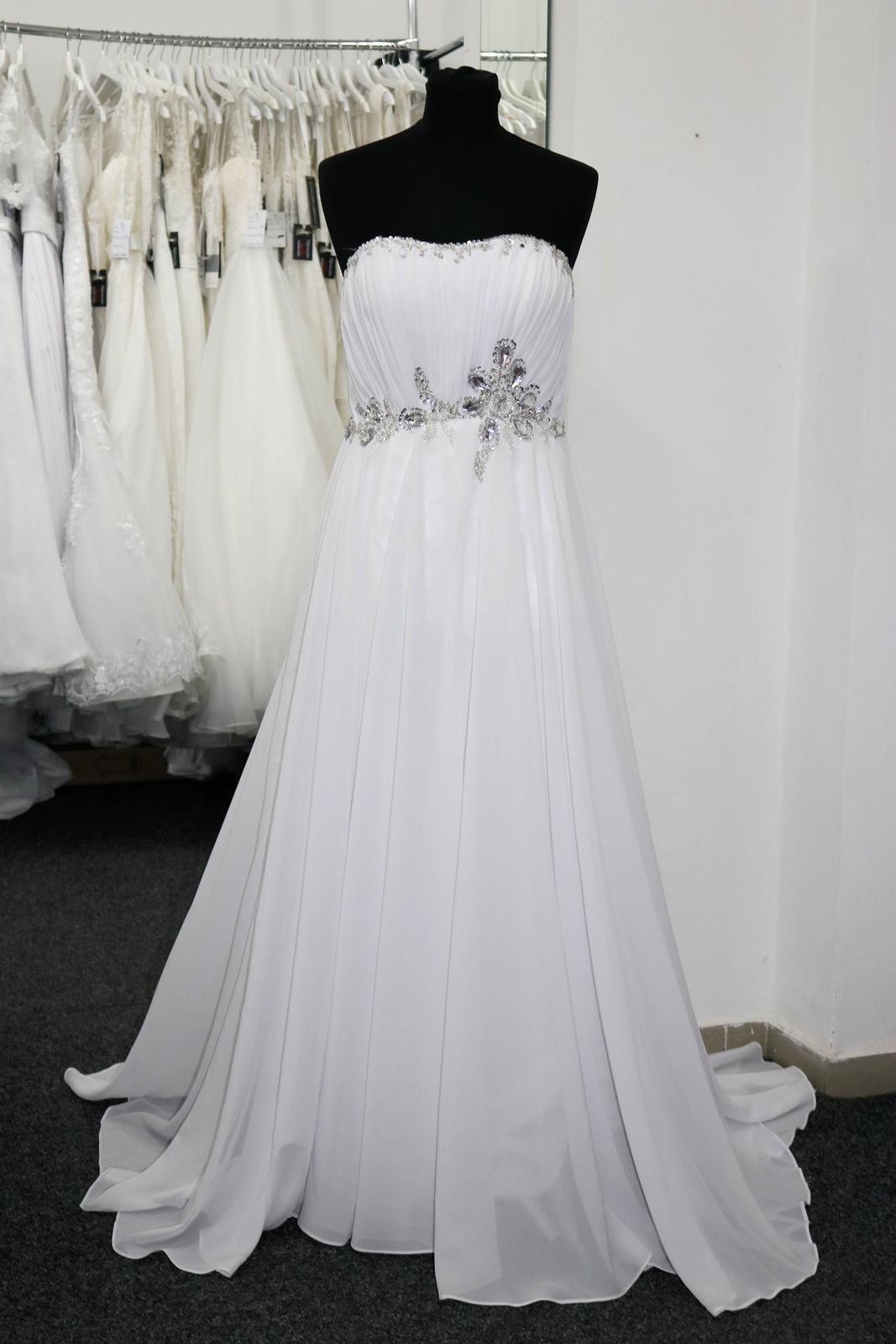 Empírové svatební šaty levně vel. S - Obrázek č. 1