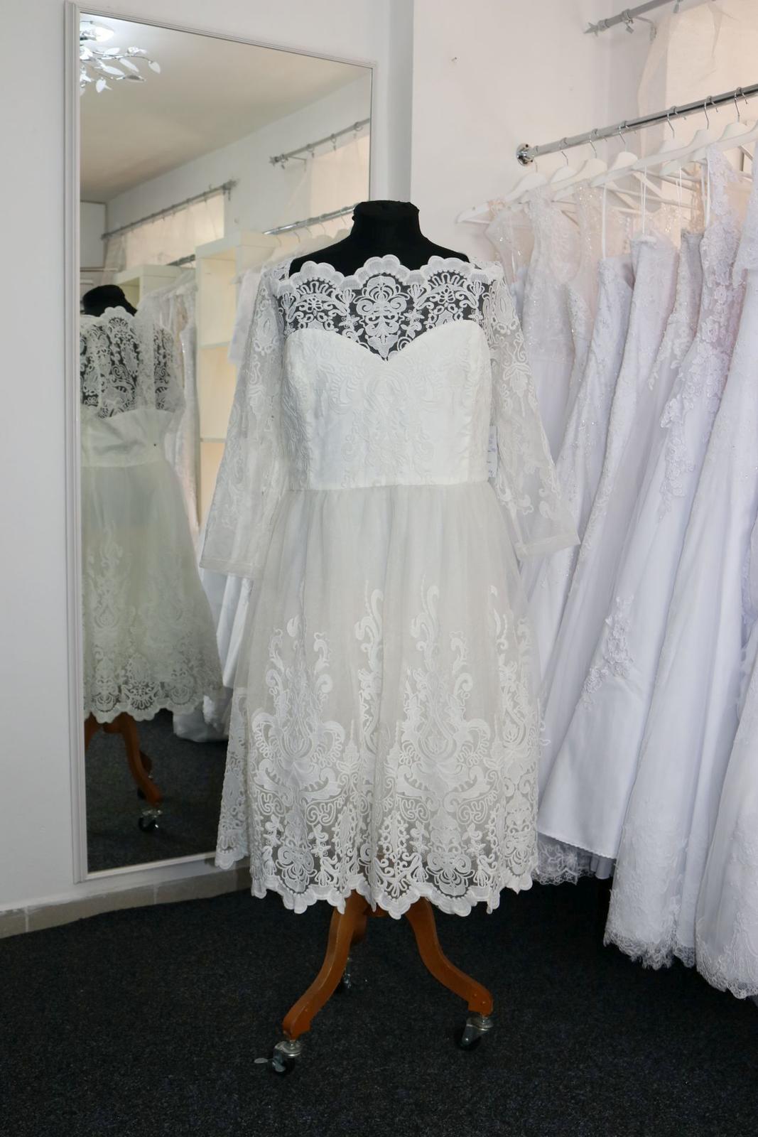 Nové svatební šaty s rukávem vel. 56 - Obrázek č. 1