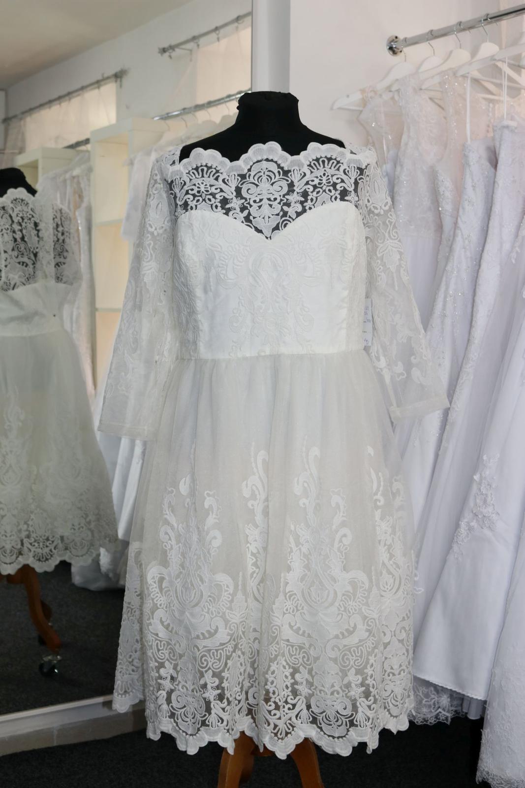 Nové svatební šaty s rukávem vel. 56 - Obrázek č. 2
