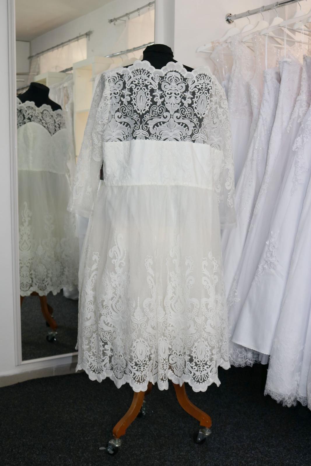 Nové svatební šaty s rukávem vel. 56 - Obrázek č. 3