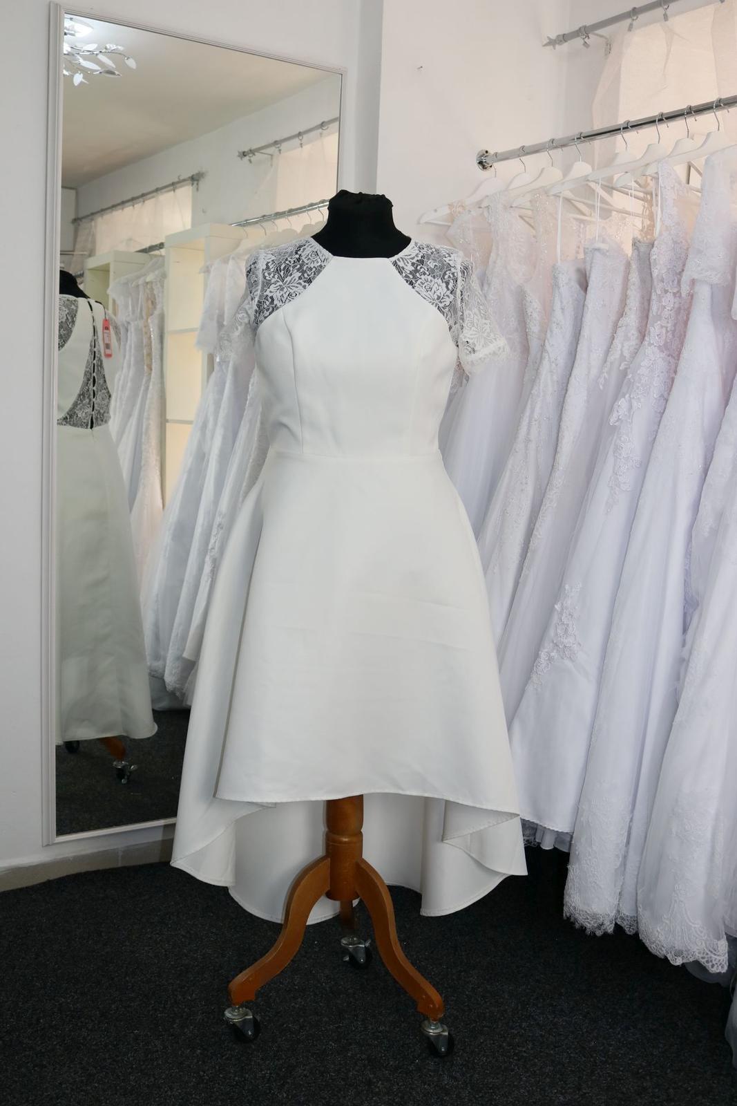 Nové svatební šaty krátké vel. 42 - Obrázek č. 1