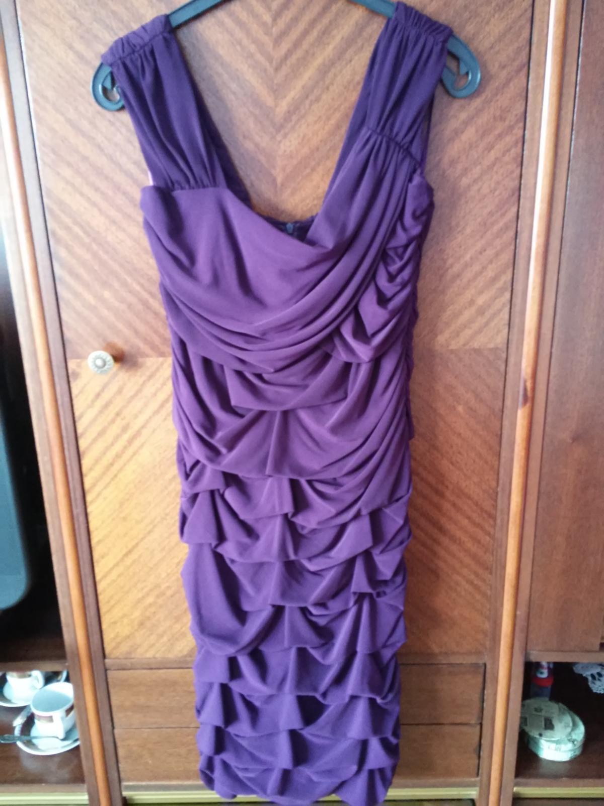 Popolnočné tmavo - fialové spoločenské šaty č.48 - Obrázok č. 1