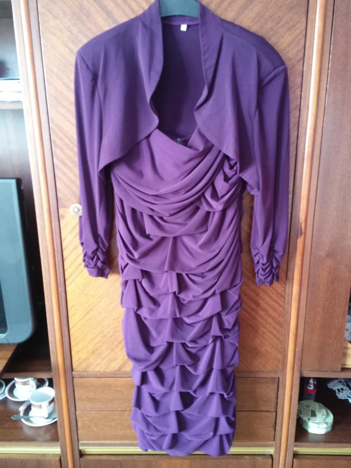 Popolnočné tmavo - fialové spoločenské šaty č.48 - Obrázok č. 2