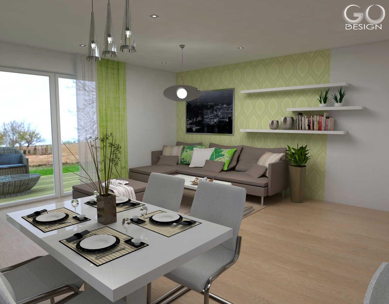 Rodinný domček so sviežim interiérom pre mladý pár - Viničné - Ktorý variant steny sa páči vám?  Variant A