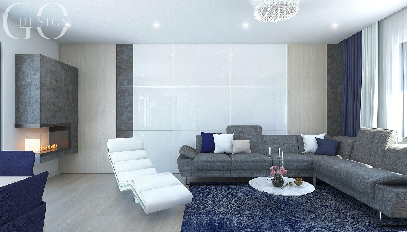 Návrh moderného domu s modrými akcentmi - Obrázok č. 3