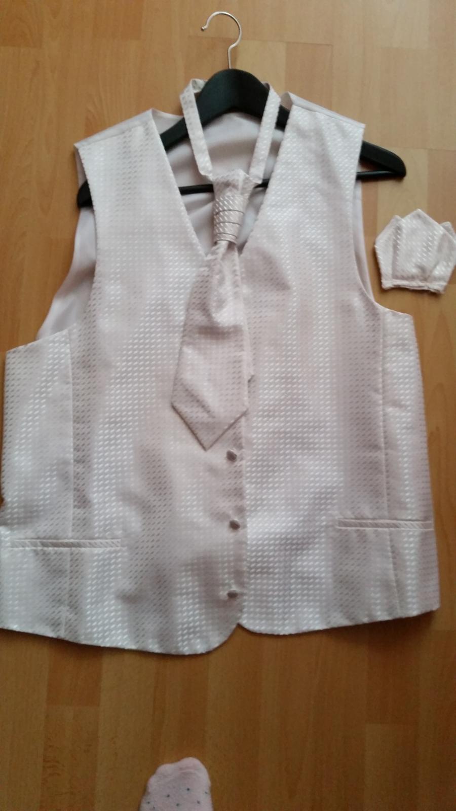 Svadobna vesta +kravata+vreckovka pre zenicha - Obrázok č. 2