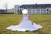 Saténové svadobné šaty 38 - 42 šité na mieru, 38