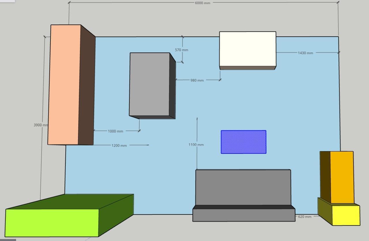 RE -START - Nákres..v místnosti pouze kuchyňská linka