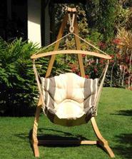 WOLKE 7 CHAIR SET - závěsné křeslo s fleecovým potahem + dřevěný stojan