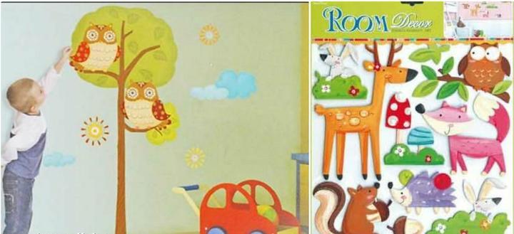 Dětský pokoj - naše inspirace - Objednáno - samolepky Strom se sovami a Lesní zvířátka:-)