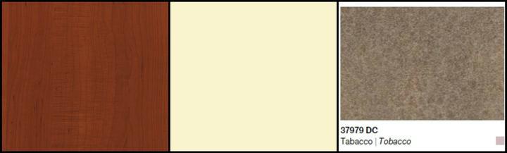 Vybrané barvy - dvířka Vanilka, korpusy Třešeň Victoria, pracovní deska Tabacco