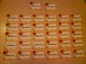 a tohle jsou jmenovky ke stolu, taky moje výroba
