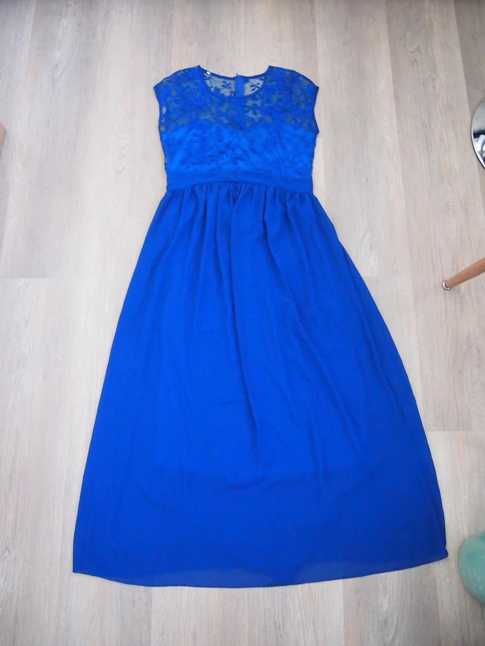 Dlouhé modré šaty (královská modř) - Obrázek č. 1