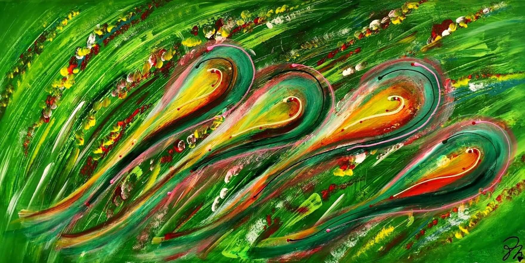 Maľujem originálne abstraktné obrazy www.zlaticavinsovadesign.sk