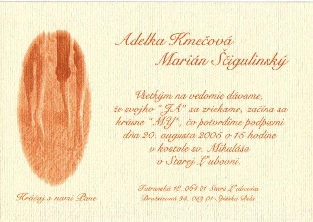Adela Kmečová{{_AND_}}Marián Ščigulinský - Svadobné oznámenie.