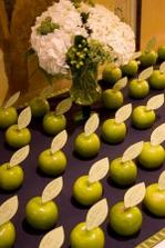 Kde asi sehnat tolik krásných zelených neomlácených jablíček? :-) asi zůstaneme u klasických jmenovek... ale nápad je to perfektní :-)