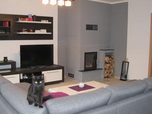 Obývák - pohled od oken. Kočičák má rád škrábání sedačky ;-)