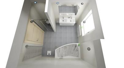 Žebříkový radiátor bude asi bílý, stejně jako radiátor pod oknem... dveře do koupelny se otvírají dovnitř