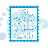 Svatební razítko známka ženich a nevěsta 2 x 3 cm,