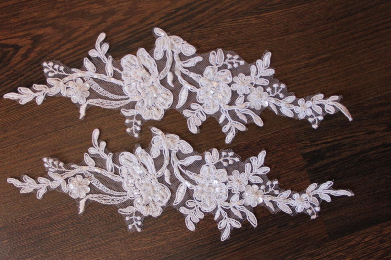 3 D Látky, aplikácie na svadobné šaty prípadne na iné dozdobenie - Obrázok č. 15