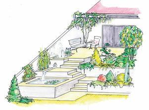 Takto chcem urobit vstup do domu - ale bez tej fontanky - len tie schody.