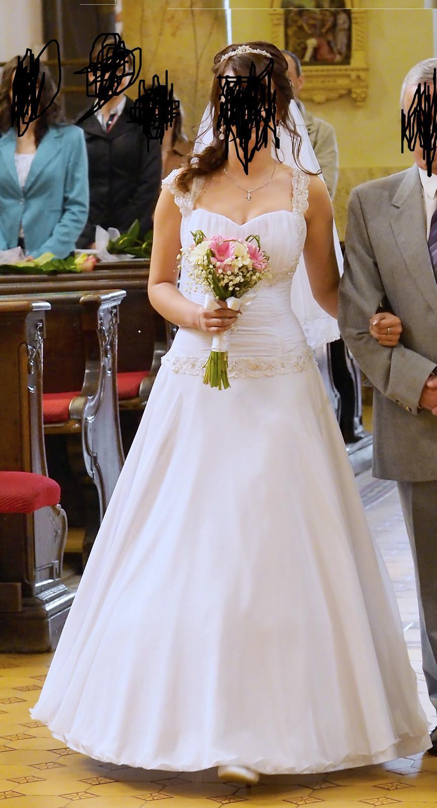 Snehobiele svadobné šaty 36 - Obrázok č. 1