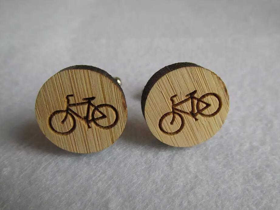 Drevene bambusove manzetove gombiky bicykel - Obrázok č. 1