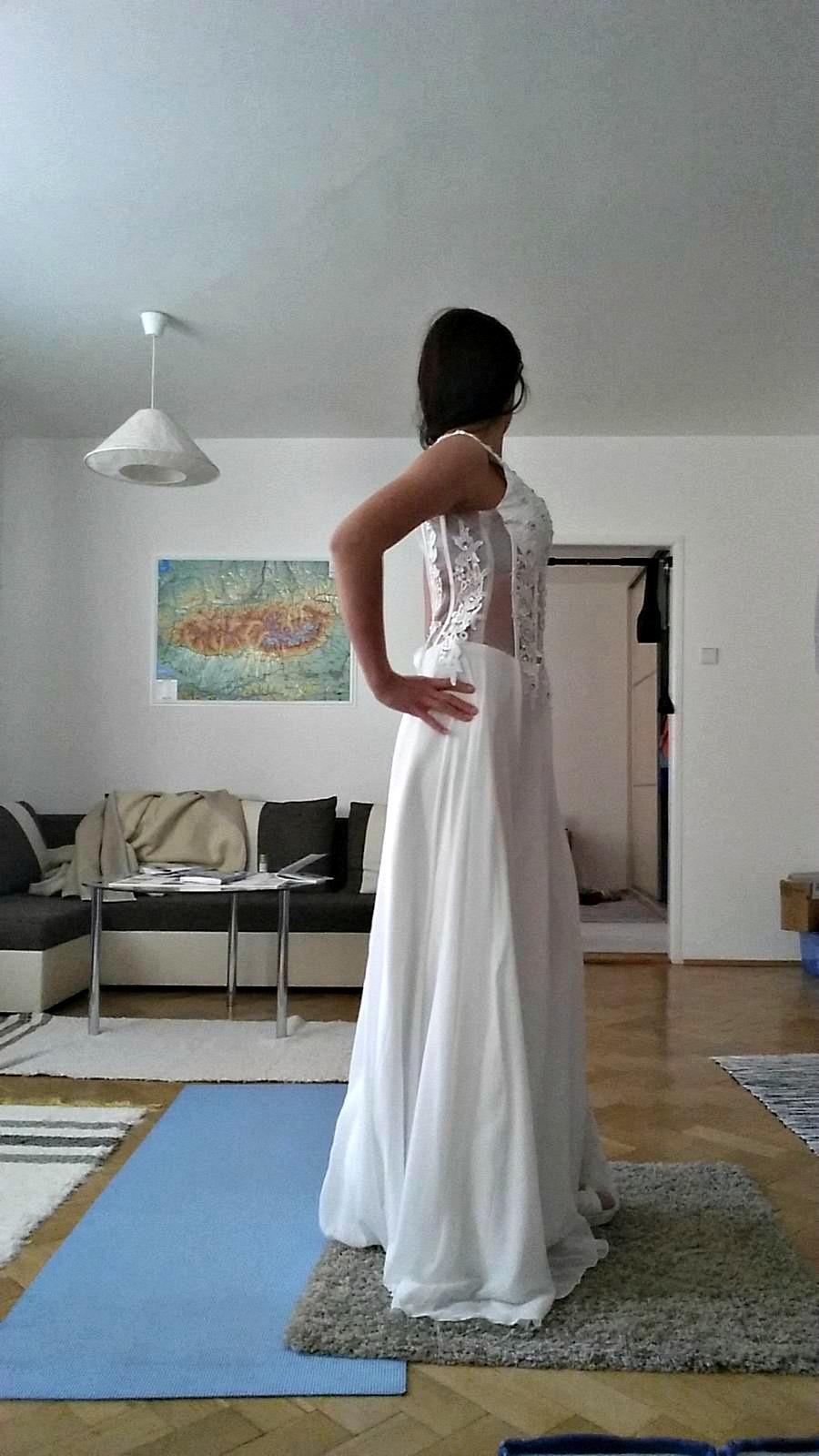 Svadobné, plesové alebo popolnočné biele dlhé šaty - Obrázok č. 3