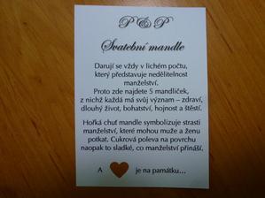 Vzkaz do krabičky se svatebními mandlemi