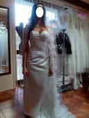 Svatební šaty moderní,jednoduché s vlečkou vel.34, 34