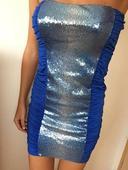 modré společenské šaty s flitry, 36