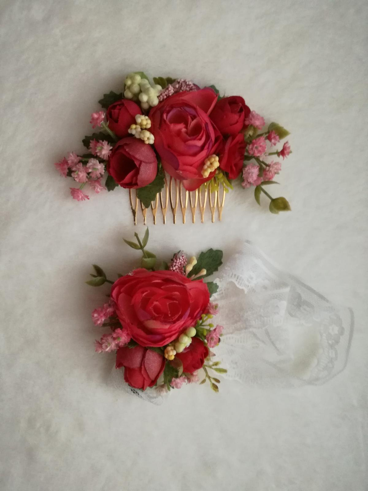 Kvetinovy set hrebienok+naramok - Obrázok č. 1