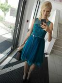 Tyrkysovo petrolejové společenské šaty 36, 36