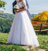 Svadobné šaty so šnurovačkou, 36