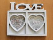 Rámik s nápisom LOVE (aj s poštovným),