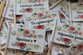 Vtipné vlajočky do zákuskov RUŽA & EUKALYPTUS ,