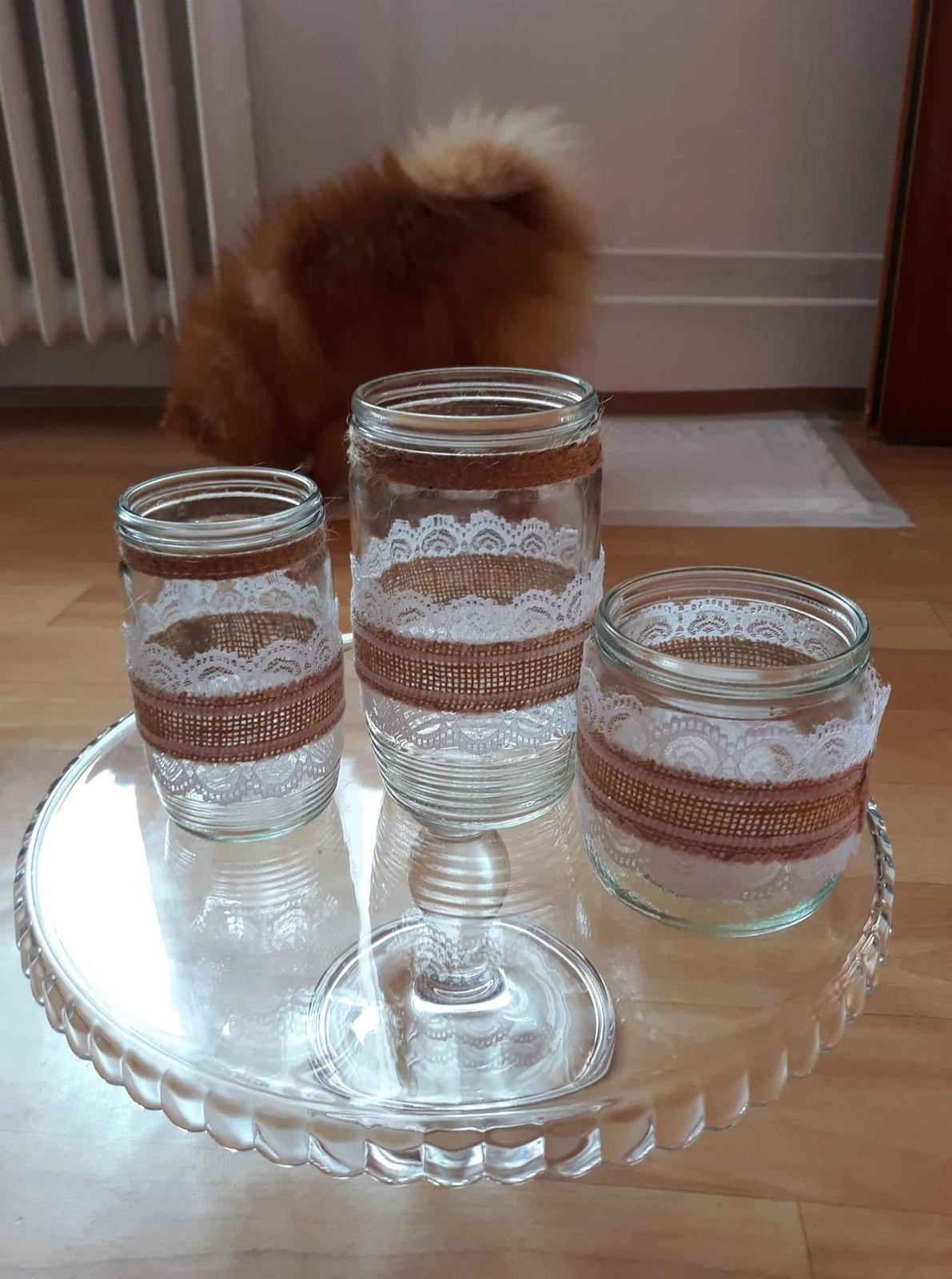 Zdobné sklenice na svíčky a kytky - Obrázek č. 2