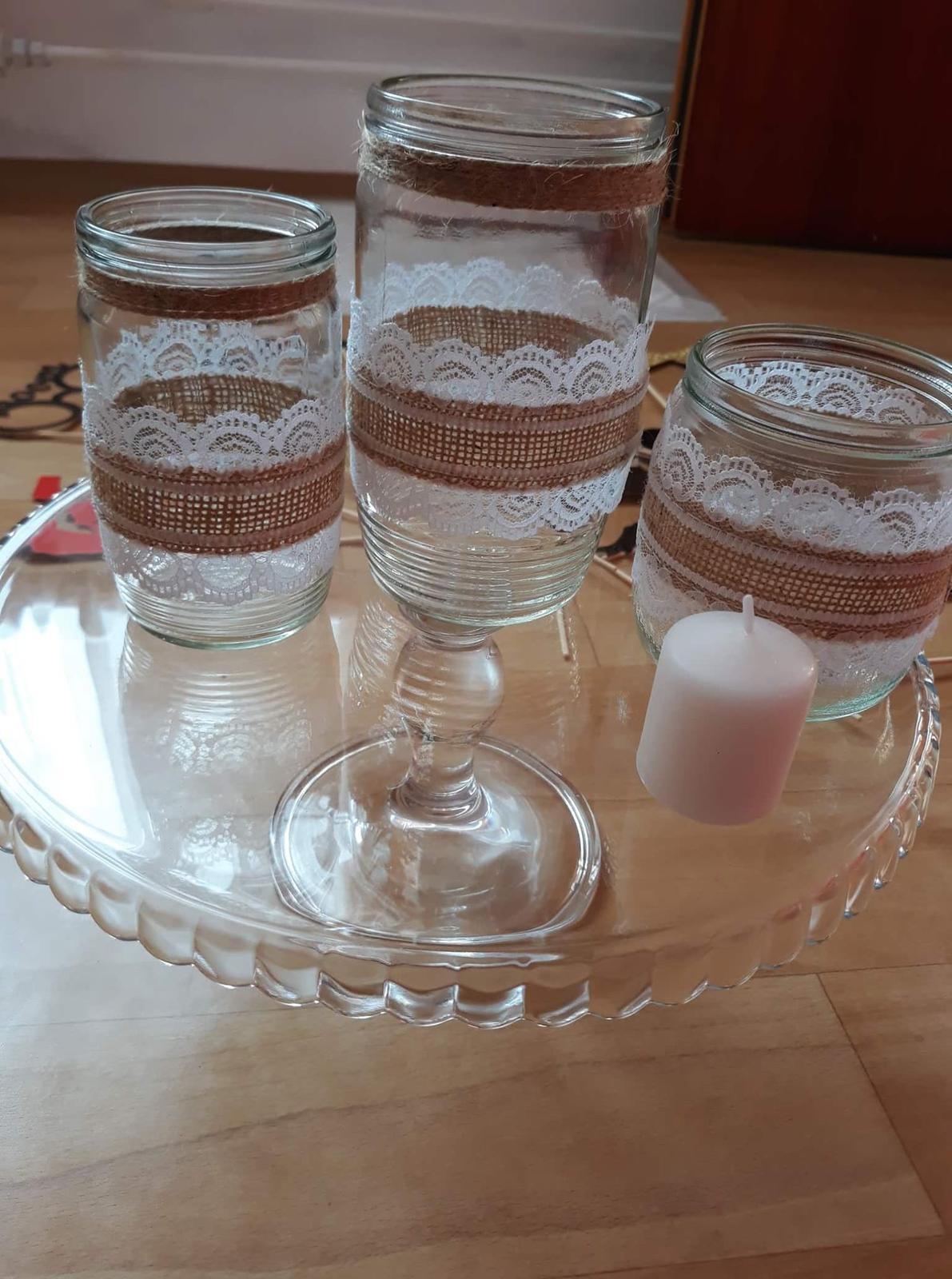 Zdobné sklenice na svíčky a kytky - Obrázek č. 4