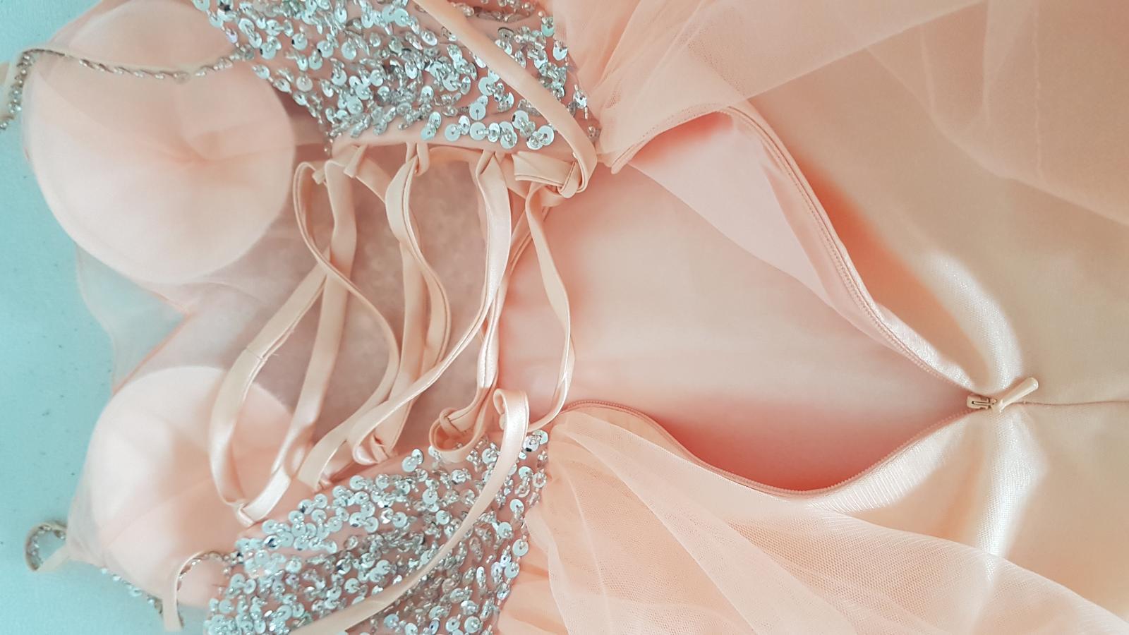 Marhuľové šaty 32-38 tylová sukňa strieborný top - Obrázok č. 2