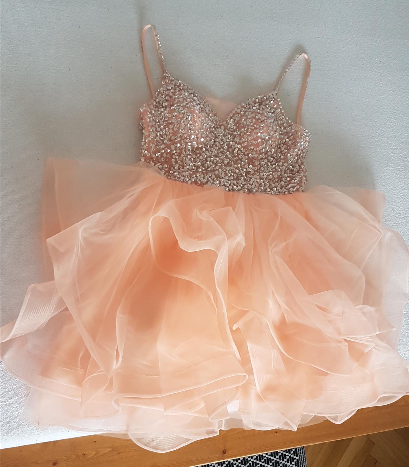 Marhuľové šaty 32-38 tylová sukňa strieborný top - Obrázok č. 1