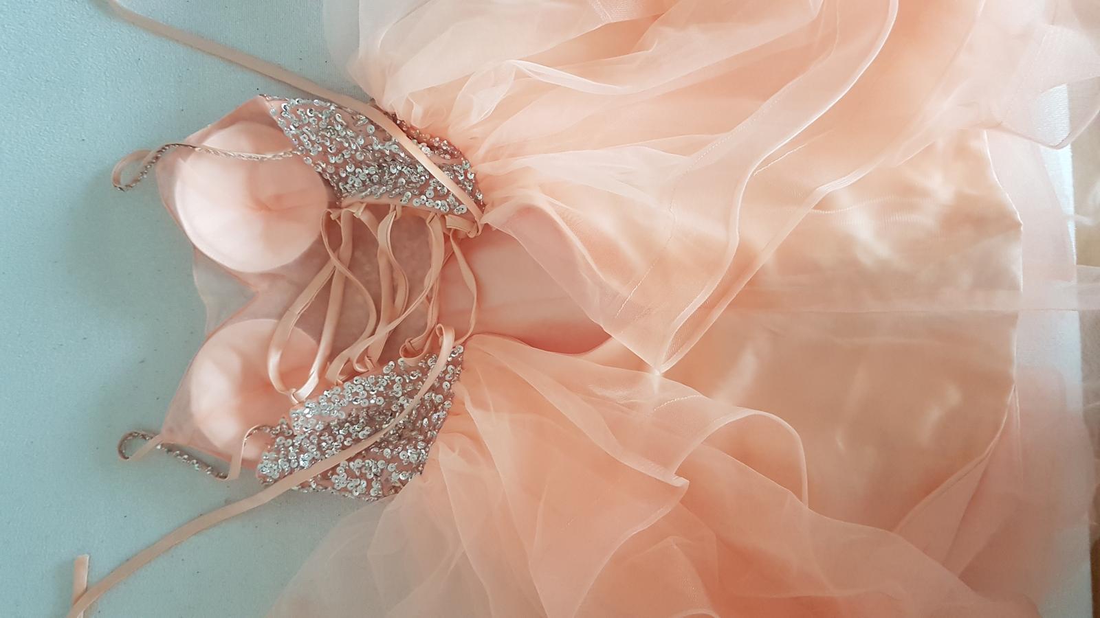 Marhuľové šaty 32-38 tylová sukňa strieborný top - Obrázok č. 4